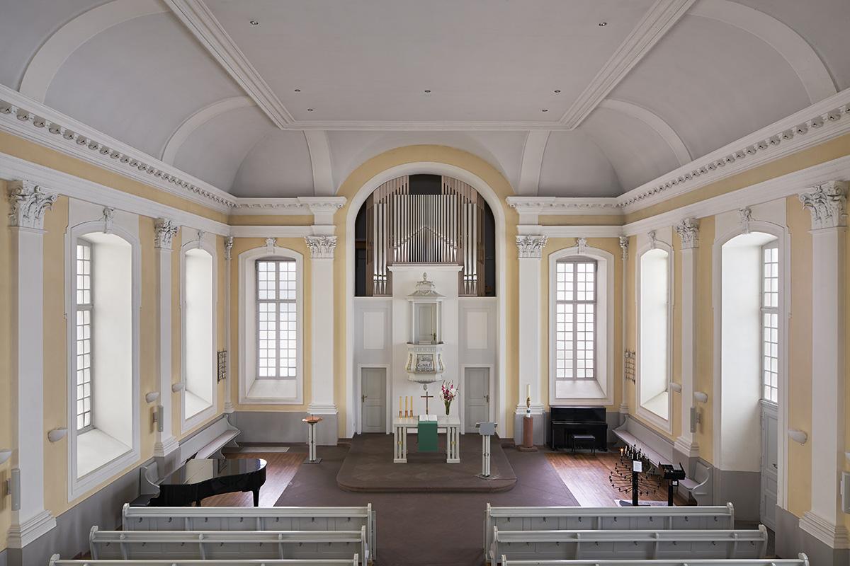 Orgelprospekt Kleine Kirche Karlsruhe  Architektur: Klinkott Architekten Kaiserstraße 235 76133 Karlsruhe www.klinkott-architekten.de